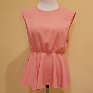 G by Gracia Peach Peplum Open Back Top Size Small